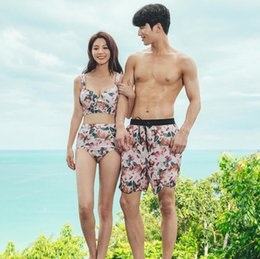 01d88d4991 2019 Couple Swimsuit Women Bikini Men Board Shorts Swimming Trunks Boxer  Sweat Beach swimwear Surfing Board short Fitness Plus