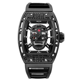Mens Military Wrist Watches Australia - 2018 New Skone Mens Fashion Military Silicone Strap Rectangle Dial Skull Face Men Watches Wrist Watches 3d Scrub Dial Genuine Y19052103
