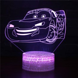 ac toys NZ - Toy Car 3D Night Lights for Kids Illusion Lamp with Remote Control 7 Colors Changing Bedroom Deco Vehicle Optical Illusion Lamps