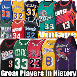 Vintage Jersey Michael Ray Allen Vince Carter Iverson Jersey Steve Nash Larry Bird jerseys ONeal subvención Barkley Hill Miller Rodman Baloncesto en venta