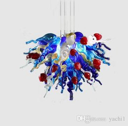 China New 100% Hand Blown Glass white And Blue Chandelier Pendant Lamps Best Designed Custom Made Murano Glass Modern Crystal LED Chandelier Home supplier blue modern blown glass chandelier suppliers