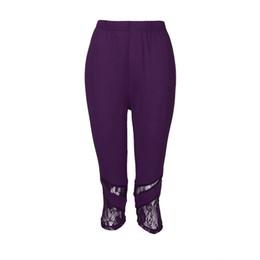 $enCountryForm.capitalKeyWord Australia - Women'S Plus Size Cropped Trousers New Fashion Lace Leggings Elastic Tight Feet Pants Casual Solid Autumn Winter Pantalones#B
