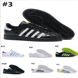 super popular 4df46 efde7 Adidas superstar foundation shoes designer sneakers mens shoes all ingrosso  di vendita caldo originale bianco ologramma Iridescent Junior oro uomo  scarpe ...
