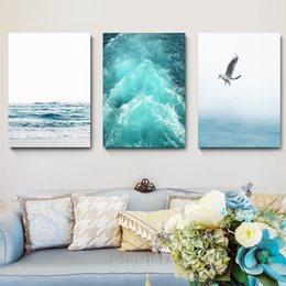 blue sea paintings Australia - Blue Sea And Sky Nordic Landscape Canvas Painting Free Seagull Waves Beach Art Poster Living Room Decor Seabirds Wall Pictures