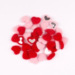 Chinese  10pcs bag Love Heart Velvet Patch Silver Flat Bottom DIY Pink Red Earring Hair Clips For Girls Gifts Valentine's Day Decorative manufacturers