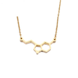 chemistry jewelry Canada - Jewellery Stainless Steel Necklace For Women Erotonin Molecule Chemistry Geometric Polygon Pendant Necklace Engagement Jewelry Female's