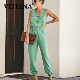 womens strapless rompers Australia - Vitiana Women Casual Jumpsuit Summer 2019 Female Sleeveless Pockets Buttons Rompers Womens Jumpsuits Ladies Formal Office Romper MX190806