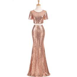 $enCountryForm.capitalKeyWord UK - Rose Gold Sequins Bridesmaid Dresses for Wedding Long robe demoiselle d'honneur 2019 2 Pieces Party Dresses