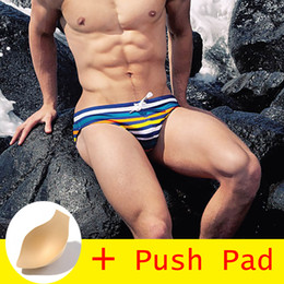 Hot Trunks For Men NZ - 2019 new All Hot Swimwear Men Brief With Push Pad Sexy Swimsuit Men Waterproof Swimming Trunks For Bathing Shorts Avoid Embarrassment