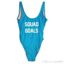 fc40eda48a6a1 SQUAD GOALS Letter Print One piece swimwear 2018 Funny swimsuit women  Halter bathing suit swimsuit sexy bikini high cut YWXK