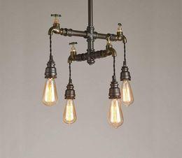 Loft Pipe Australia - Loft American Iron Art Restaurant Lamp Individual Bar Cafe Industrial Wind Multi-head Water Pipe Hanging Lamp LLFA