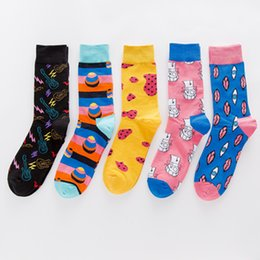 Discount silver electric guitars - Casual Combed Cotton Men's Socks Harajuku Street Hip Hop Funny Happy Socks Colorful Electric Guitar Pattern Long Fo
