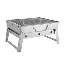 stainless steel charcoal barbecue grills NZ - Foldable Grill Picnic BBQ Charcoal Grills for Barbecue & Sliver Outdoor Stainless steel Hiking Charcoal Camping Gril