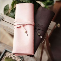 Discount stationery leather - Fashion Leather Roll Up Pencil Bag Cosmetics Pouch Pocket Brushes Holder Stationery Organizer Makeup Bag Pen Box School