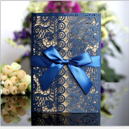 Wedding invitations papers online shopping - Lace Invitation Card Laser Hollowing Out Greetings Card Wedding Decoration Supplies More Color Bowknot Pearl Light Paper xdC1
