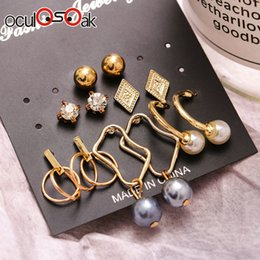 $enCountryForm.capitalKeyWord Australia - 6 Pairs sets Vintage Gold Color Leaves Long Tassel Simulated Pearl Stud Earrings Set For Women New Brincos Jewelry 2019 New