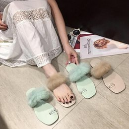 $enCountryForm.capitalKeyWord Australia - Goddess2019 Rabbit's Baby Hair Pvc Transparent Pinch Set Toe Flat Soft Bottom Dawdler Slipper