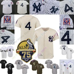 Cream York NZ - Lou Gehrig Jersey Men Women YouthYankees 1939 Cooperstown New York Cream White Pinstripe Grey Black Home Away All Stitched