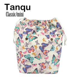 large canvas floral tote bags NZ - TANQU New Large Capacity Classic Mini Drawstring Colorful Inner Lining Insert for Big Mini Obag Canvas Inner Pocket for O Bag Y190619