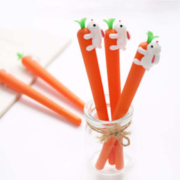 Signature Paintings Australia - Carrot Modeling Gel Pen Cute Cartoon Rabbit Realistic Soft Silicone 0.5 MM Black Signature Pen Replaceable Needle 57