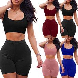 récolte de 2PCS femmes Tops + Shorts Pantalons moulantes Sportswear Casual Outfit Survêtement Livraison gratuite en Solde