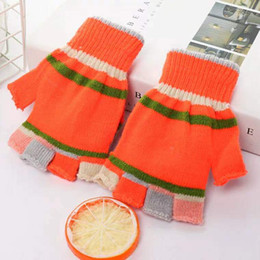 Warmest Gloves Australia - Winter Children's Cartoon Bear Warm Magic Gloves Knitted Flip Half Finger Gloves For Boys and Girls