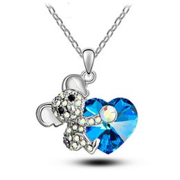blue bear jewelry UK - New Arrival Blue Austrian Crystal Rhinestone Lady Embraces Heart's Necklace Creative Lovely Bear Women's Pendant Part Jewelry Best Gift