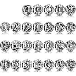 Six tv online shopping - NEW Sterling Silver pandora Twenty six letters Charm beads Fit Bracelet DIY bangle for Women Jewelry factory