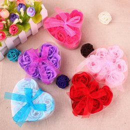 Soap For Gifts Shapes NZ - Heart-Shaped Rose Soap Flower For Romantic Bath Soap Valentine's Gift Wedding Favors 6pcs=1set 6 Colors DHL free shipping