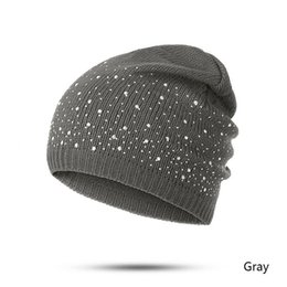 1abc9e08f93 Spring Autumn Winter New Fashion 1PC Knitted Cotton Beanies Cap Women  Diamonds Glistening Hats Warm Men Skullies Christmas Gift