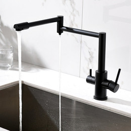 $enCountryForm.capitalKeyWord Australia - Kitchen Purifier Faucet Total Brass Kitchen Sink Mixer Tap Hot & Cold Wall Mounted Crane Rotate Foldable Black Nickel Faucet