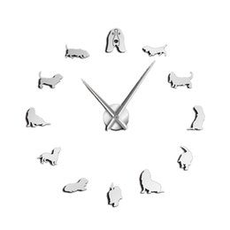 $enCountryForm.capitalKeyWord Australia - Basset Hound Acrylic Mirror Silhouette Diy Giant Wall Clock Pet Shop Dog Breed Big Clock Frameless Wall Watch Dog Lovers Gift