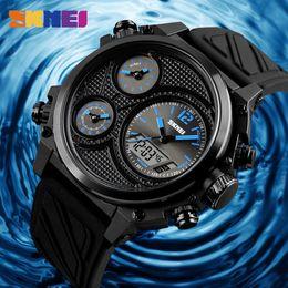 Binary Men Luxury Watches NZ - SKMEI Luxury Men Watches 5 Time Alarm Chrono EL Light Wristwatches Waterproof Week Date Wristband Clock Men Horloges Mannen