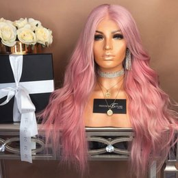 $enCountryForm.capitalKeyWord Australia - Lace Front Human Hair Wigs Pink 150% Density full lace wigs with hairline Wave Brazilian Remy Hair Wigs With Baby Hair