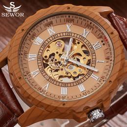 $enCountryForm.capitalKeyWord Australia - masculino Skeleton Mechanical Men Top Brand Luxury Automatic Watch Men Watch Mahogany SEWOR Wood Leather Watches Relogio Masculino