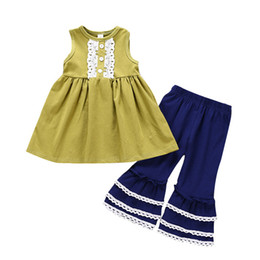 BaBy kids trimmer online shopping - Baby girls outfits children Sleeveless lace trim dress top Flare pants set summer fashion Boutique kids Clothing Sets C5888