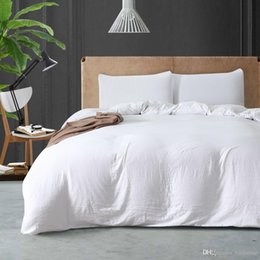 White Bedding Sale Australia - Simple Style 2018 Sale Polyester Cotton Hotel 3Pcs Duvet Cover Set Twin Queen King Duvet Covers Home White Bedding Set
