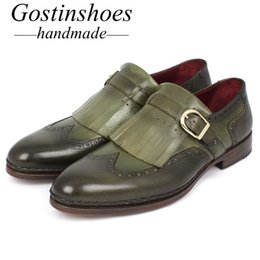 Handmade Tassel Straps Australia - GOSTINSHOES HANDMADE Monkstrap Oxford Shoes For Men Genuine Leather Buckle Strap Tassel Oxford Shoes Goodyear Welted SCT32