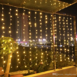 wall curtains UK - 10mx1.5m 480 LEDs Twinkle Lights Window Curtain String Light 8 Flashing Modes LED Curtain Fairy String Wall Lights Party Wedding Decorative