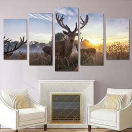 Background Prints Australia - Poster HD Wall 5 Pieces Animal Deer Canvas Painting Fashion Modular Art Prints Pictures Bedside Background Home Decor Hot Sale