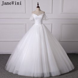 $enCountryForm.capitalKeyWord Australia - JaneVini 2019 Simple Wedding Dresses V Neck Lace Short Sleeves Puffy Tulle Plus Size Bridal Gowns White Elegant Ball Gown Vestido De Noiva