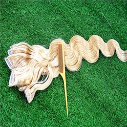 blonde hair clip ins UK - Blonde Body Wave Clips In Brazilian Human Hair Extensions 100g 7pcs Set 8-32 Inchs Clip Ins Clip In Hair