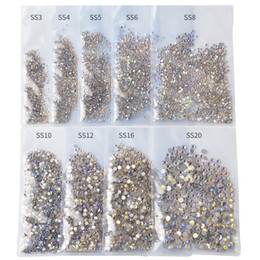 1440pcs Pack SS3-SS20 Starry AB Rhinestones For Nails 3d Flatback Glass Strass Non Hotfix Crystal Charm Nail Art Glitter Decorations on Sale
