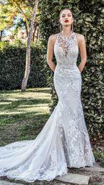 $enCountryForm.capitalKeyWord NZ - Bridal Sleeveless Illusion Halter Neck Sweetheart Neckline Full Embellishment Elegant Fit Flare Wedding Dress Sheer Button Back Chapel Train