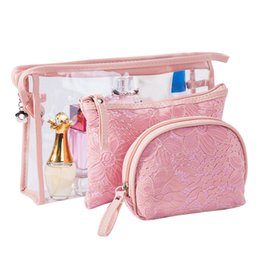 $enCountryForm.capitalKeyWord Australia - 3 Pcs Set Transparent Cosmetic Bag Women Travel Makeup Pouch Make Up Zipper Organizer Beauty PVC Toiletry Wash Kit Case Supplies