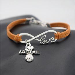 $enCountryForm.capitalKeyWord Australia - Hot Lucky Silver Infinity Love I Heart Softball Bracelets Bangles For Women Men Brown Leather Rope Cuff Adjustable Handmade DIY Jewelry Gift