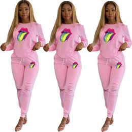 $enCountryForm.capitalKeyWord Australia - Big Lips Printed Women Tracksuit Long Sleeve Hoodies Tops + Ripped Holes Pants Trouser Two Piece Outfits Autumn Casual Sport Suit C72503