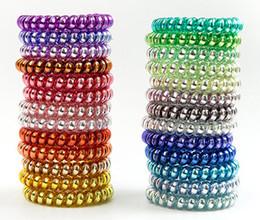 Hair Elastic Bracelet UK - 25pcs 25 colors 6.5cm High Quality Telephone Wire Cord Gum Hair Tie Girls Elastic Hair Band Ring Rope Metal Bracelet Stretchy Scrunchy