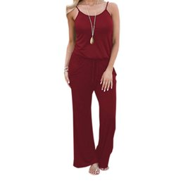 Xxl Size Jumpsuits NZ - Loose Wide Leg Pants Spaghetti Strap Women Casual Jumpsuit XXL Plus Size 2018 Summer Flag Printed Long Playsuit Overalls GV049