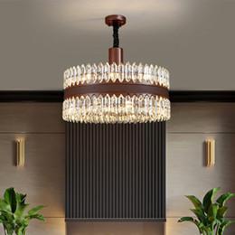 Rustic pendant lamp online shopping - New design luxury crystal chandelier lighting gold creative leather chandeliers lights pendant lamps for living room bedroom